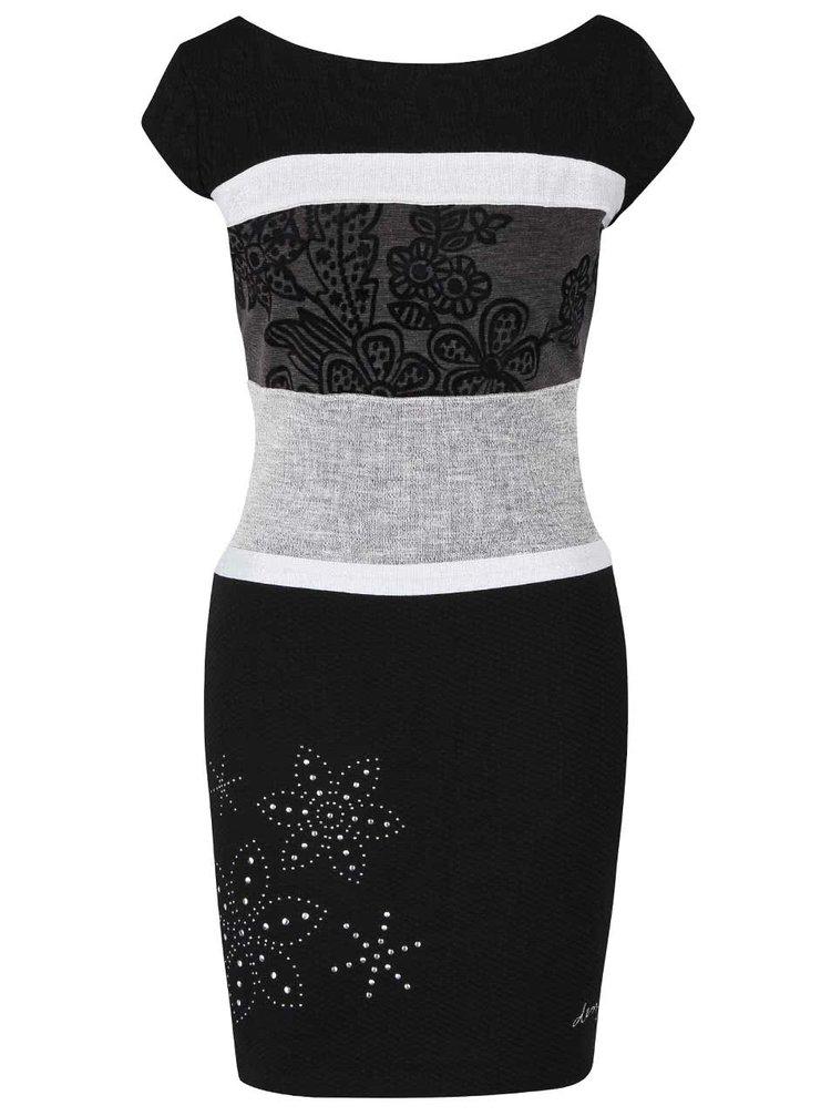 Šedo-černé šaty s pruhy Desigual Seleste