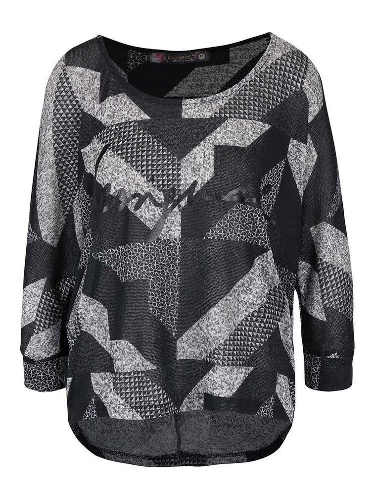 Sivo-čierny top s geometrickými vzormi Desigual Mabel