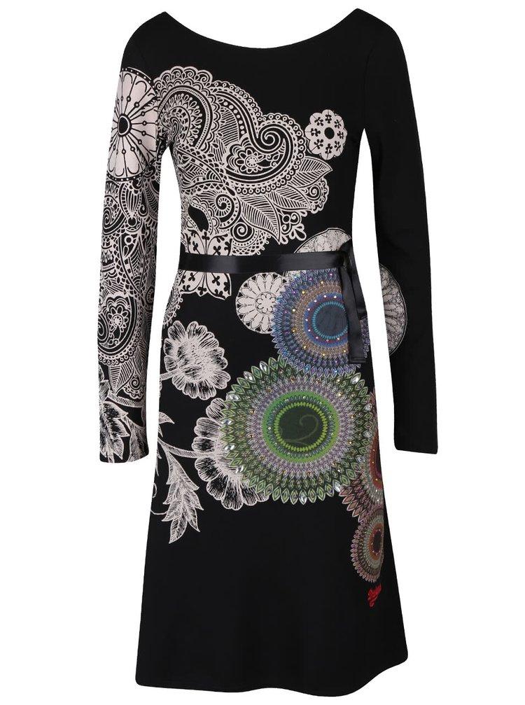 Černé šaty se stuhou v pase Desigual Anais
