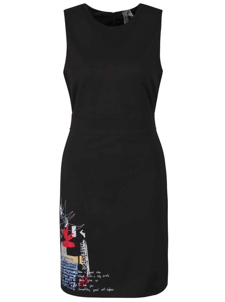 Černé šaty s vyšívaným motivem Desigual Rosita