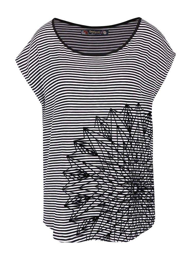 Bílo-černé pruhované tričko Desigual Amapola