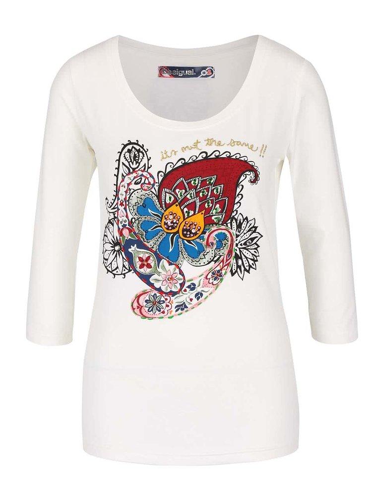 Bluză crem cu model multicolor Desigual Natasha