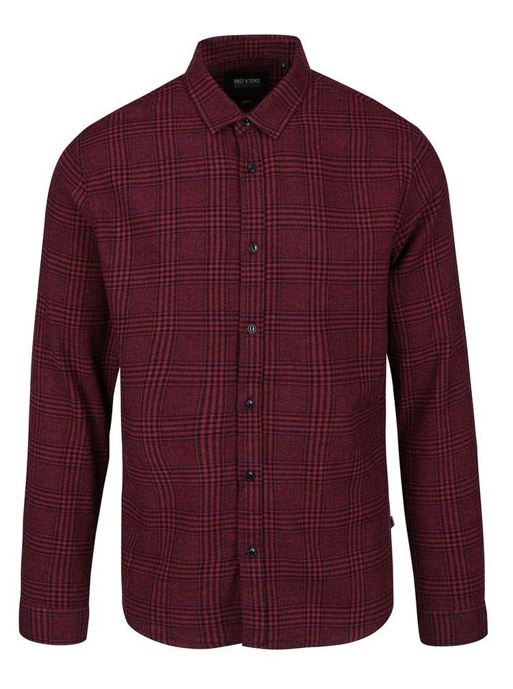 Červená károvaná košile ONLY & SONS Aston