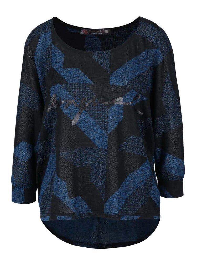 Bluză negru-albastru Desigual Mabel cu model geometric