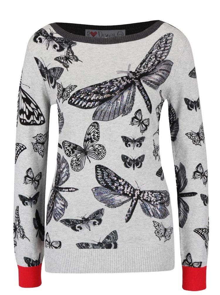 Sivý sveter s motýľmi Desigual Win