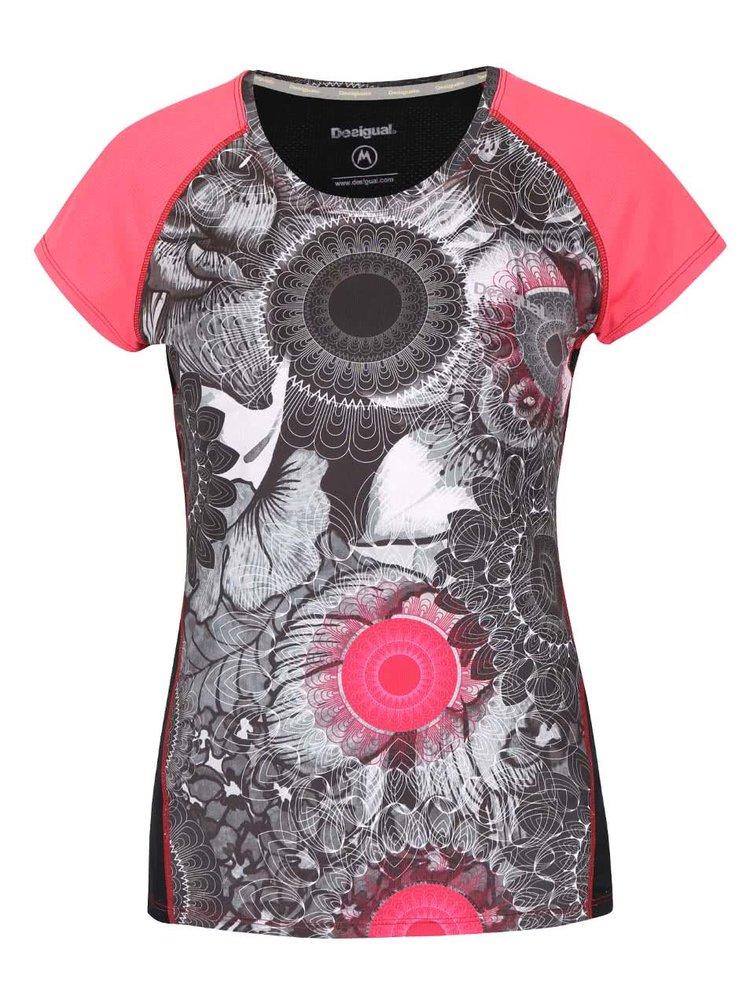 Ružovo-sivé vzorované športové tričko Desigual Sport