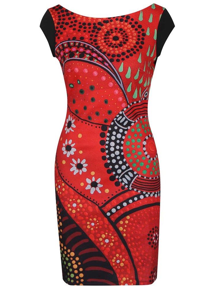 Rochie roșu & negru Desigual Corban cu print și spate decoltat