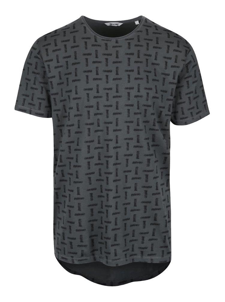 Tmavozelené vzorované tričko ONLY & SONS Komma