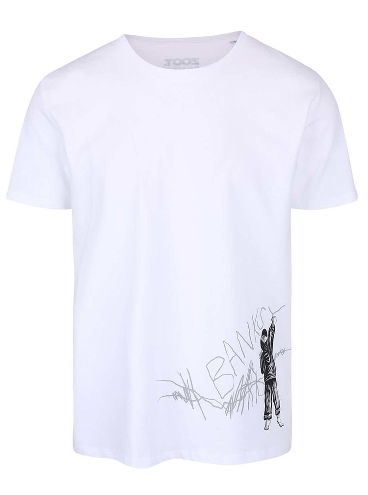 Tricou alb  din bumbac ZOOT Original Banksy pentru bărbați