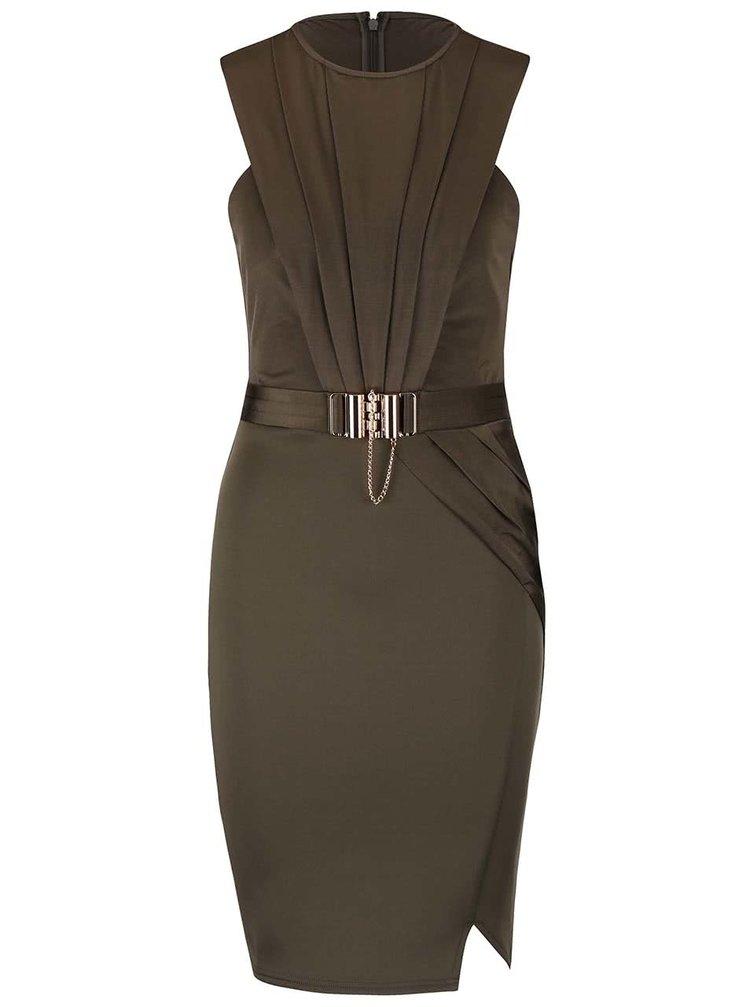Khaki upnuté šaty s páskem Lipsy