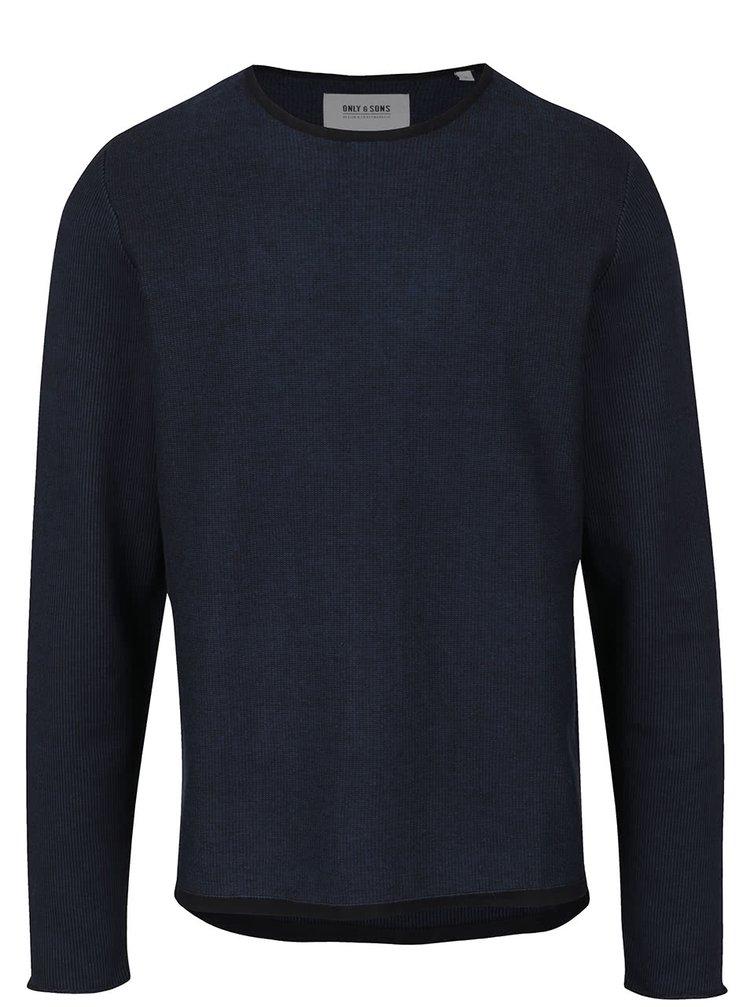 Modro-čierny melírovaný sveter s okrúhlym výstrihom ONLY & SONS Dima