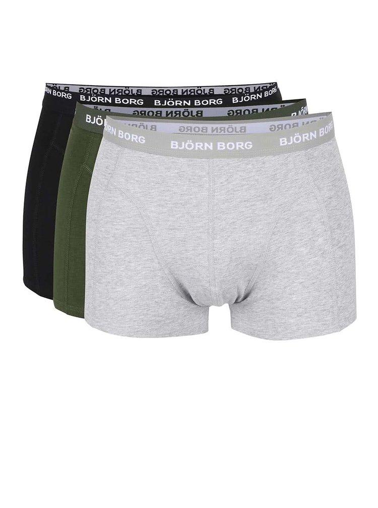 Sada tří boxerek v šedé, zelené a černé barvě Björn Borg