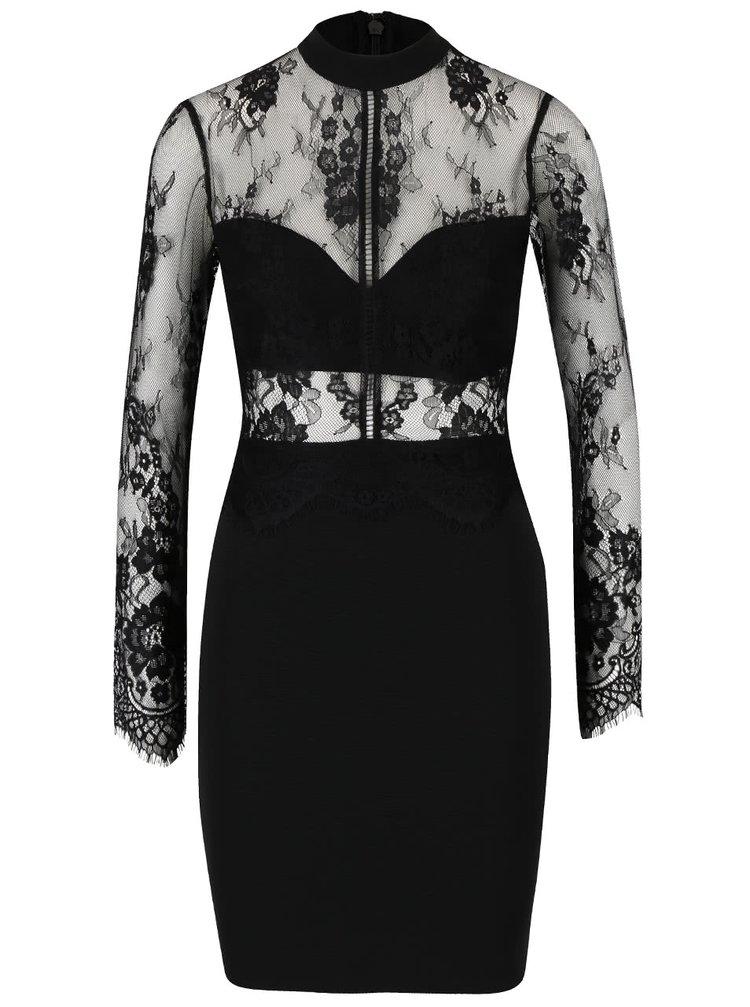 Černé šaty s krajkovým topem Lipsy