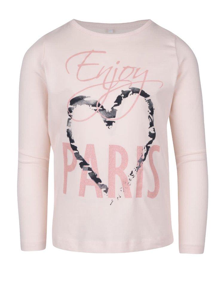 Svetloružové dievčenské tričko s dlhým rukávom name it Vix