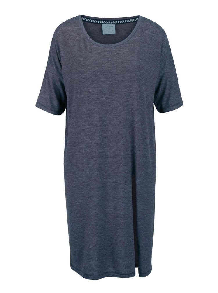 Modré žíhané volnější dlouhé tričko s rozparkem VERO MODA Ida