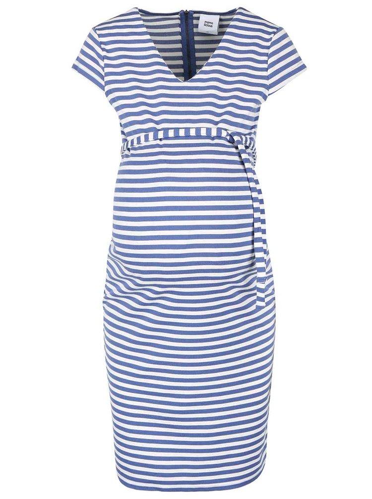 Krémovo-modré pruhované tehotenské šaty Mama.licious Blackie
