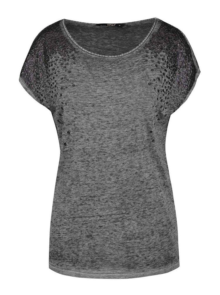 Tmavosivé melírované tričko s flitrami ONLY Eagle