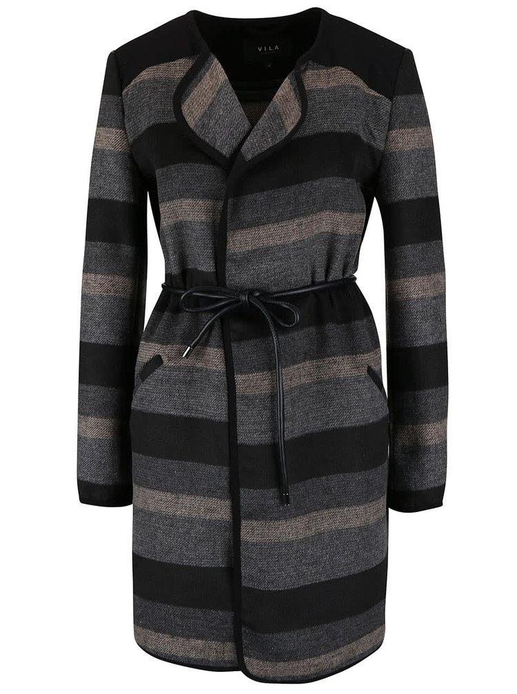 Béžovo-šedý lehký kabát s páskem VILA Vallo