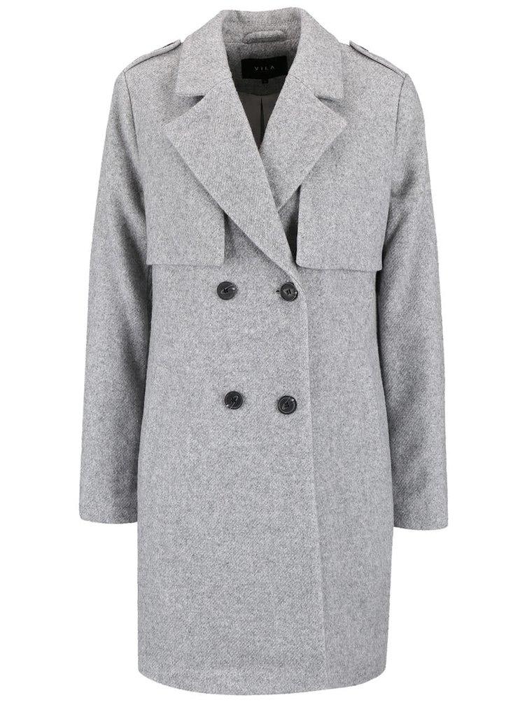 Světle šedý kabát na dvouřadé zapínání VILA Maja