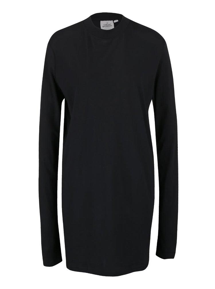 Rochie neagră din bumbac Cheap Monday Strict cu mâneci lungi