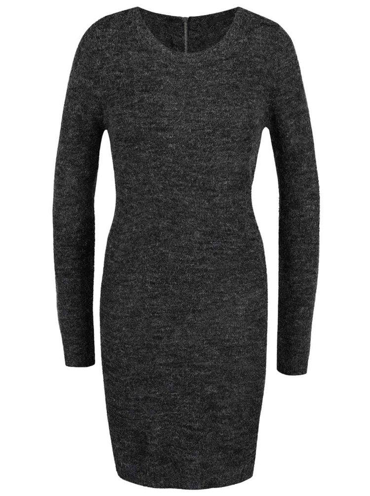 Tmavosivé melírované úpletové šaty s dlhým rukávom ONLY New Hayley