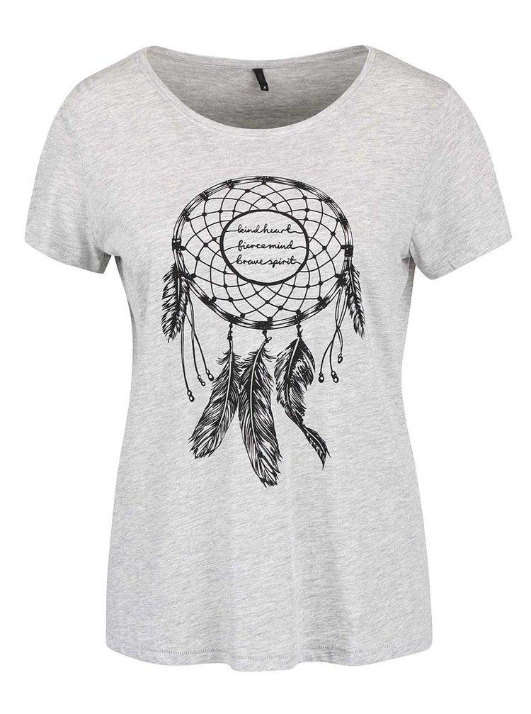 Světle šedé tričko s potiskem lapače snů ONLY Cotton