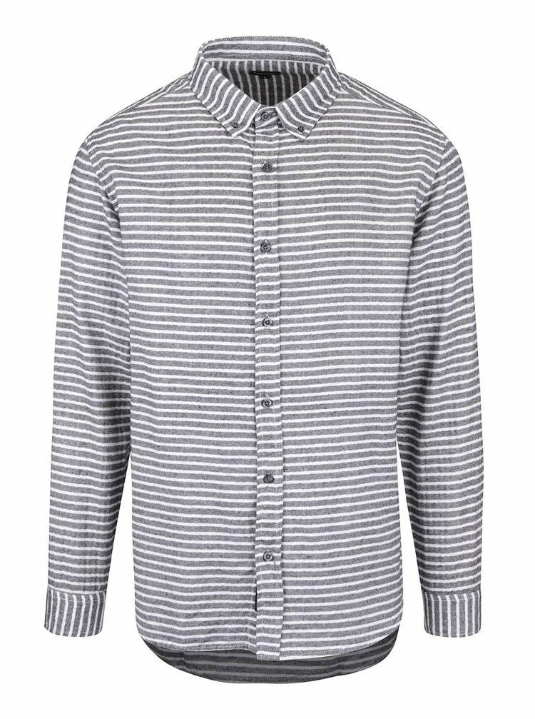 Sivá pánska pruhovaná košeľa Broadway Orvil
