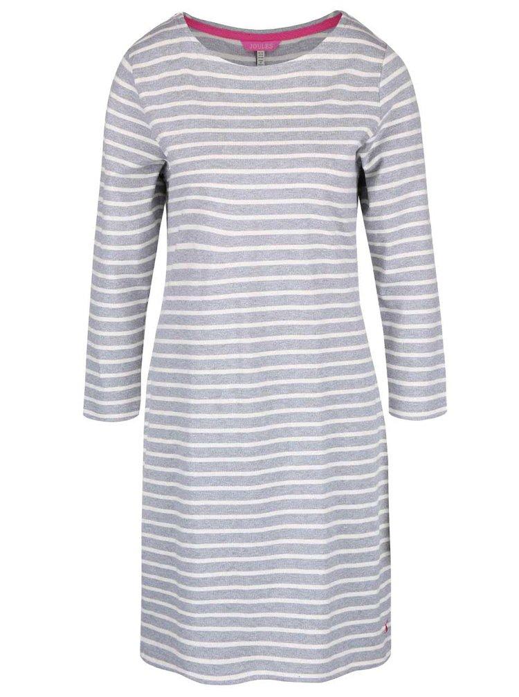 Svetlosivé pruhované šaty s 3/4 rukávmi Tom Joule Riviera