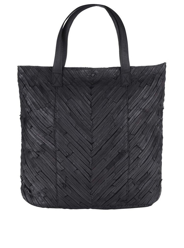 Čierna kožená kabelka Pieces Piper