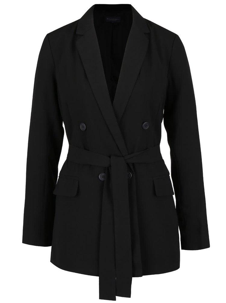Čierny dámsky kabát s opaskom Broadway Noela