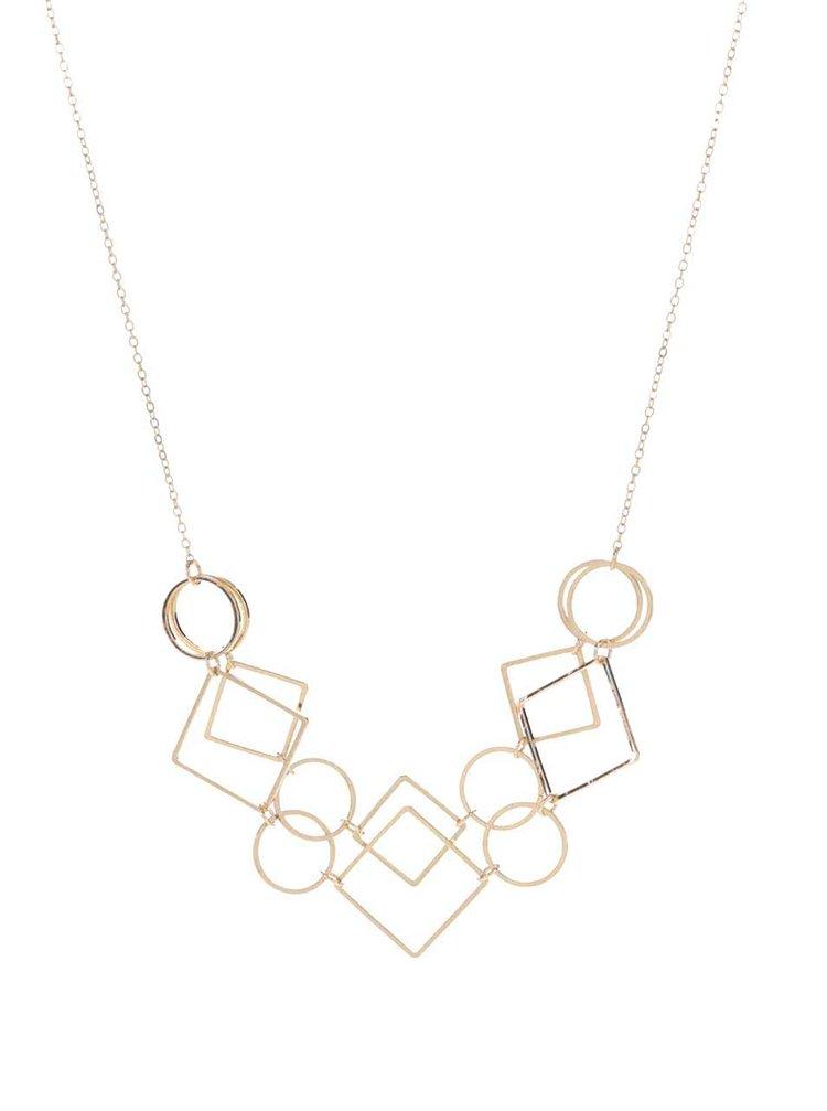Náhrdelník ve zlaté barvě s geometrickými přívěsky Pieces Line