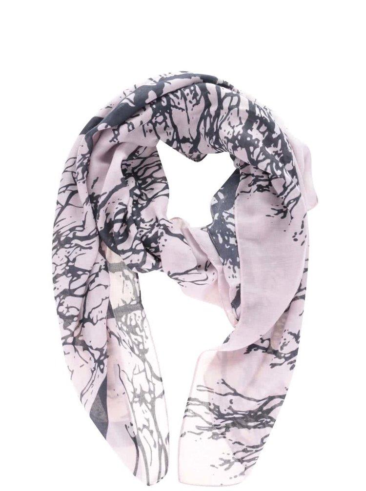 Modro-růžový dámský šátek s motivem stromů Broadway Oddrun