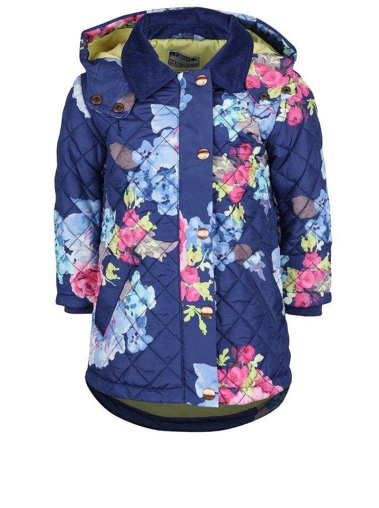 Tmavě modrá holčičí prošívaná bunda s květovaným vzorem Tom Joule Marcotte