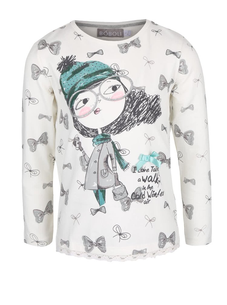 Krémové dievčenské tričko s dievčaťom a mašľami Bóboli