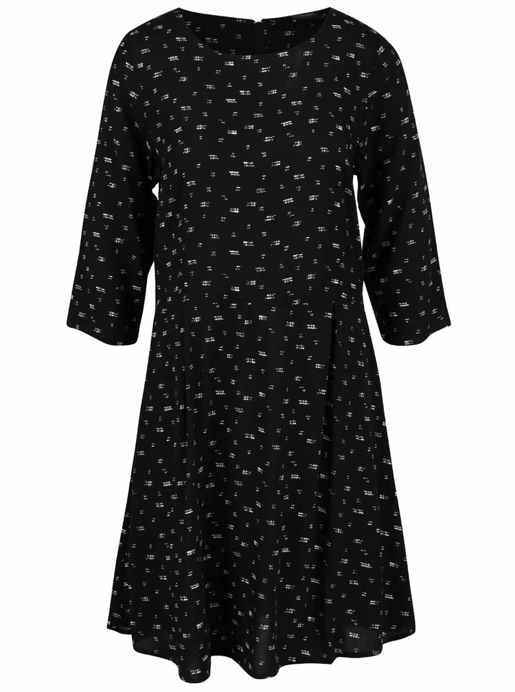 Černé vzorované šaty s dlouhým rukávem Broadway Natasha