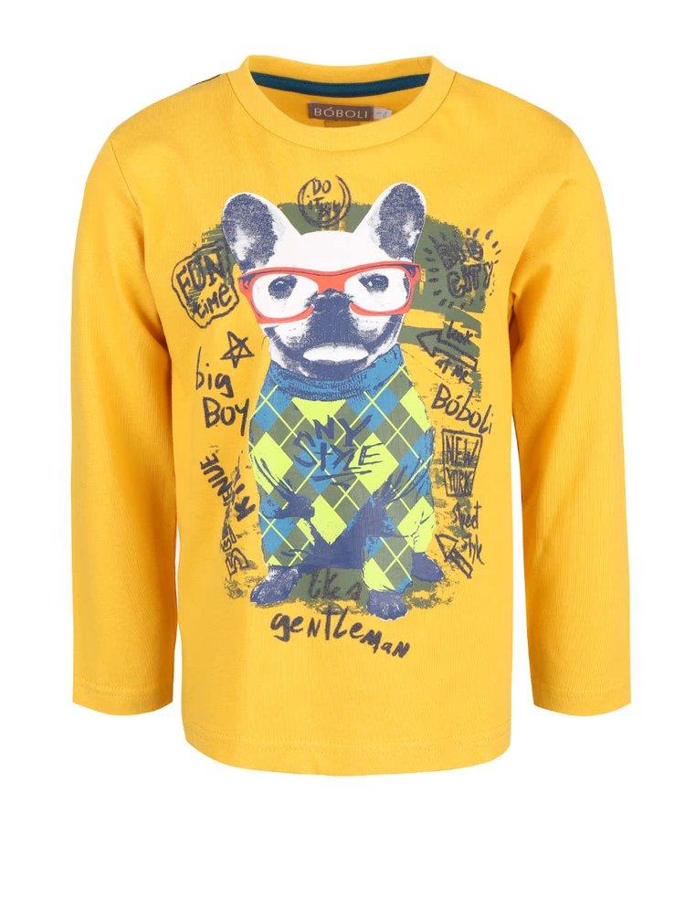 Bluză galbenă cu imprimeu Boboli pentru băieți