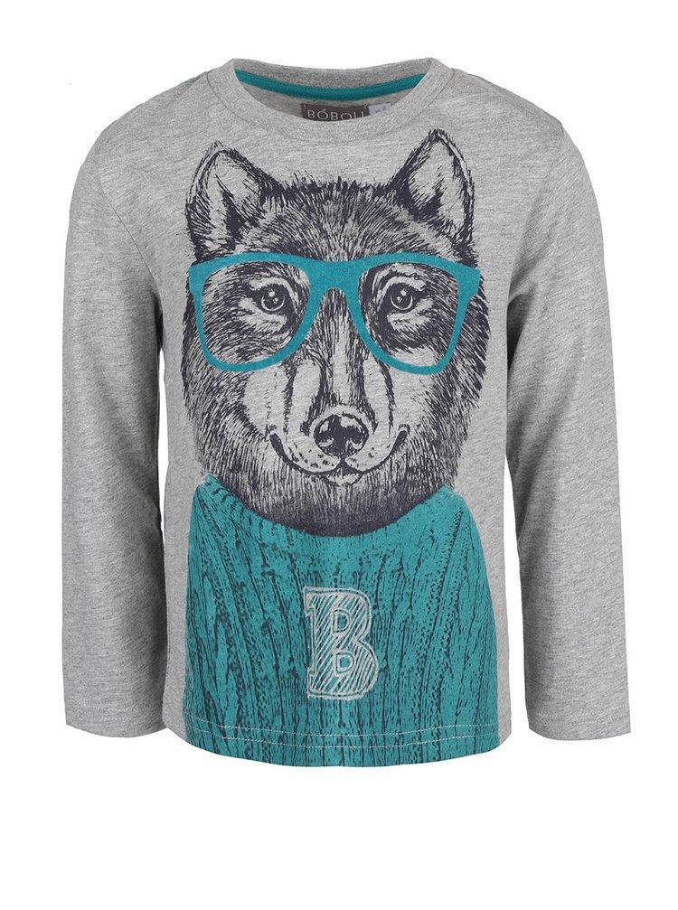 Šedé klučičí triko s potiskem vlka a dlouhým rukávem Bóboli
