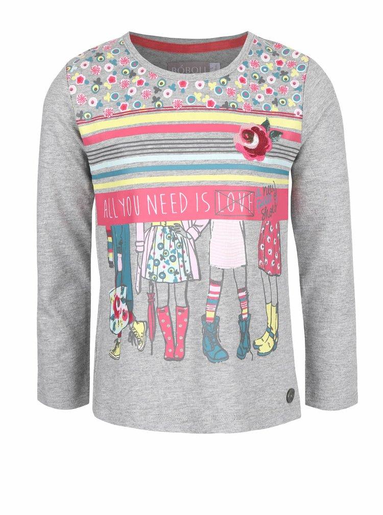 Sivé dievčenské tričko s farebnou potlačou a dlhými rukávmi Bóboli