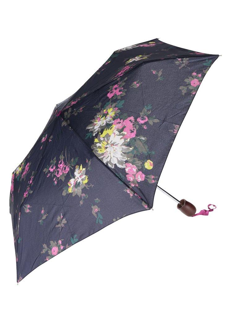 Tmavomodrý skladací dáždnik s potlačou kvetov Tom Joule Brolly