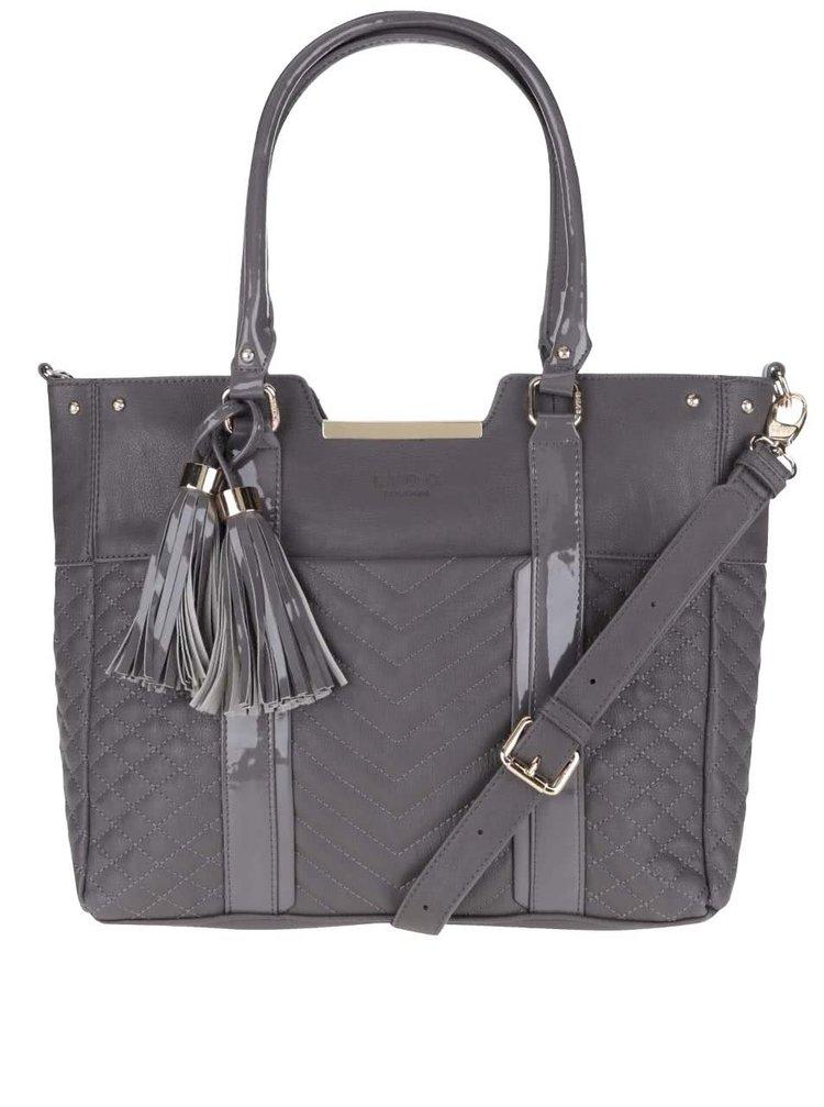 Tmavosivá kabelka so strapcami a detailmi v zlatej farbe LYDC