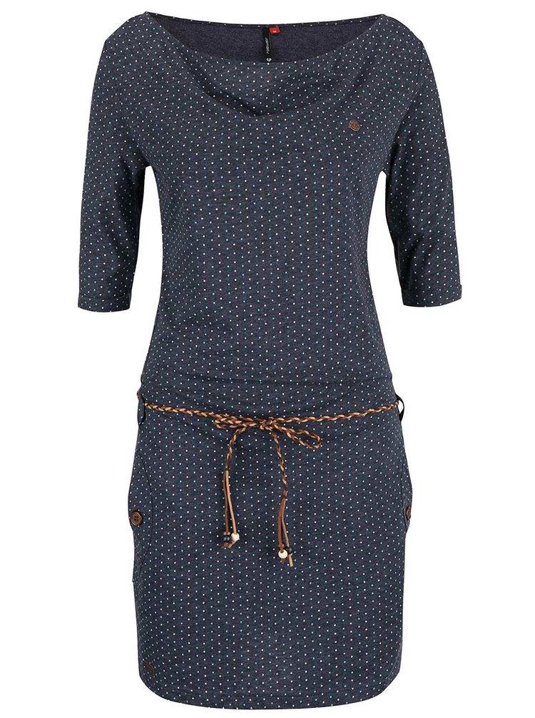 Modro-šedé puntíkované šaty s páskem Ragwear Tanya Dots