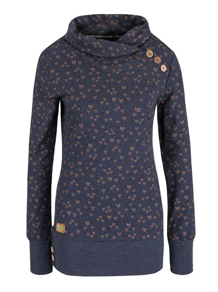 Bluză albastră Ragwear Next Fox Organic cu imprimeu