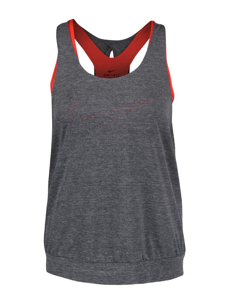 Top 2în1 gri cu roșu Nike Training