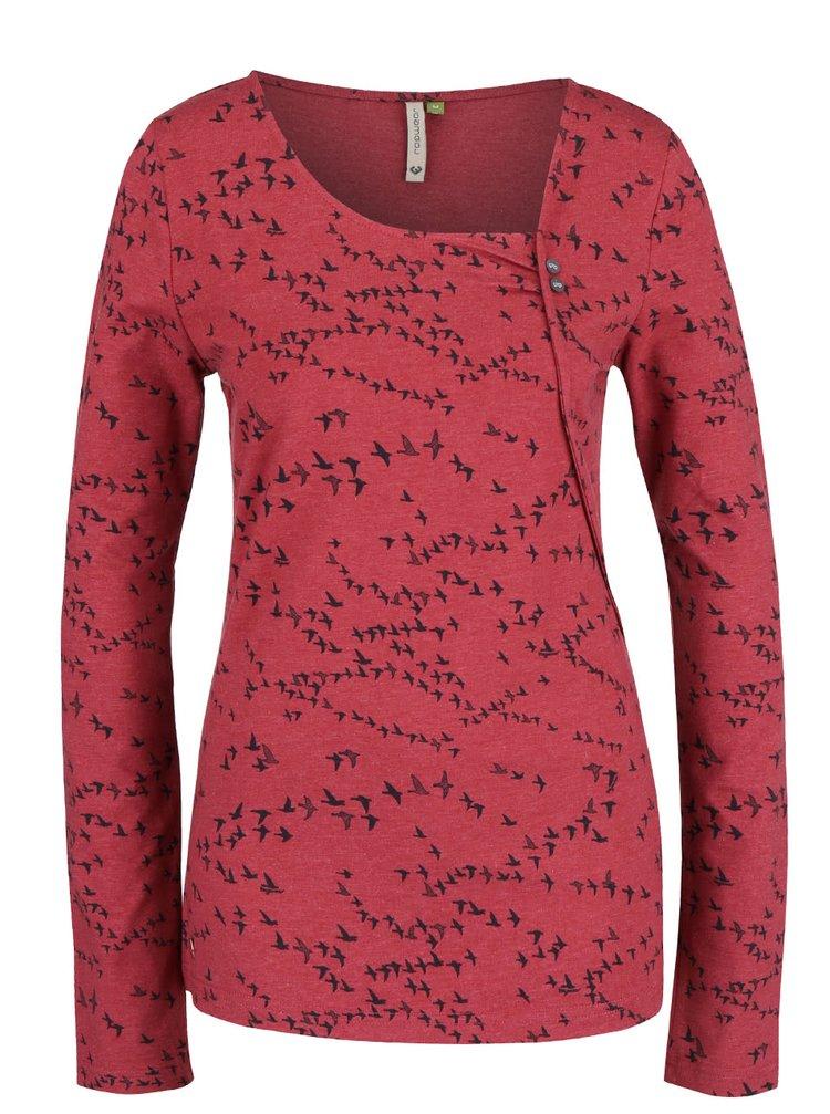 Bluză roșie Ragwear Ellie Organic cu imprimeu
