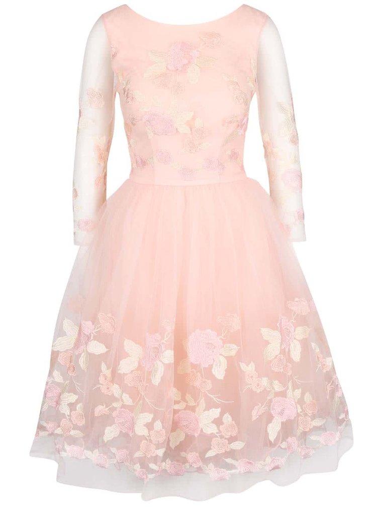 Světle růžové šaty s 3/4 krajkovými rukávy Chi Chi London Penny