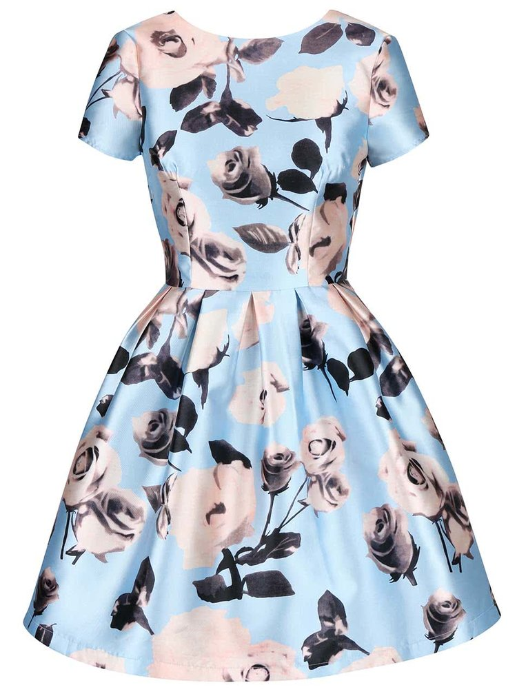Světle modré květované šaty s krátkými rukávy Chi Chi London Cassia