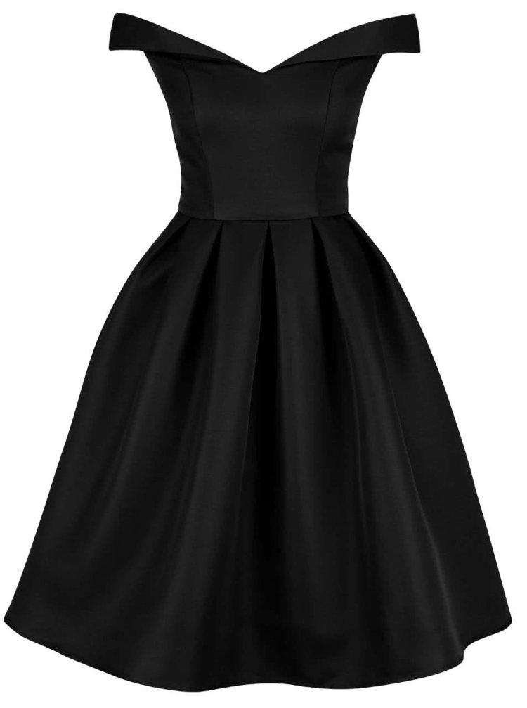 Černé šaty se spadlými rameny Chi Chi London Jade
