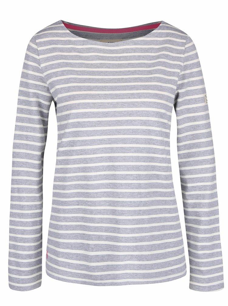 Světle šedé dámské pruhované tričko s dlouhým rukávem Tom Joule Harbour