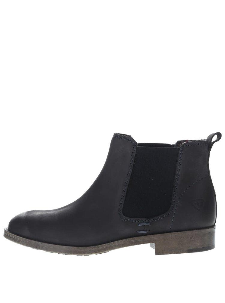 Tmavomodré kožené chelsea topánky Tamaris