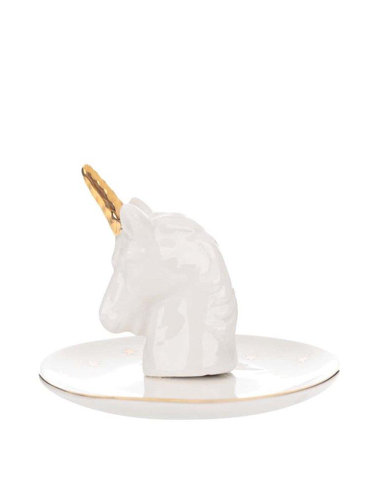 Bílý talířek s jednorožcem na odkládaní šperků Sass & Belle Stargazer Unicorn
